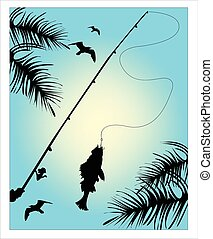 Fishing on the blue sky background