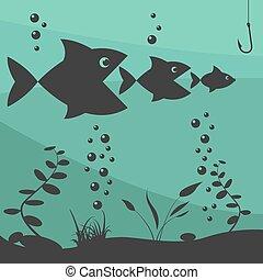 Fishing on the boat. Fishing design