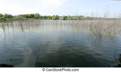 fishing on the lake.