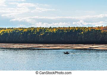 Fishing on the Ob river. Western Siberia - Ob river, Verkh-...