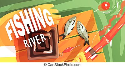 Fishing On The River Illustration With Only Hands Visible