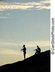 Fishing on the sunset