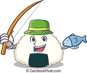 Fishing Onigiri mascot cartoon style