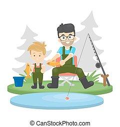 fishing., père, fils