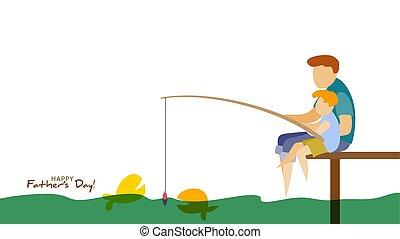 fishing., père, fils, fête pères, carte, heureux
