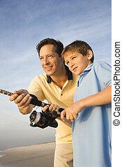 fishing., padre, figlio