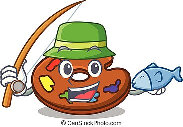 Fishing palette mascot cartoon style