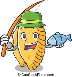 Fishing pastel mascot cartoon style vector illustration