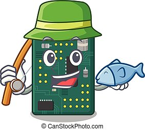 Fishing PCB circuit board in PC characters vector...
