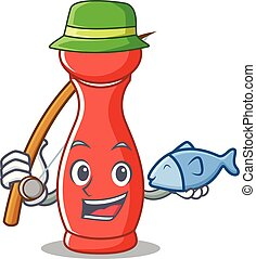 Fishing pepper mill character cartoon