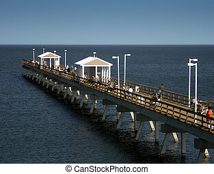 A fishing pier with people fishing and crabbing.