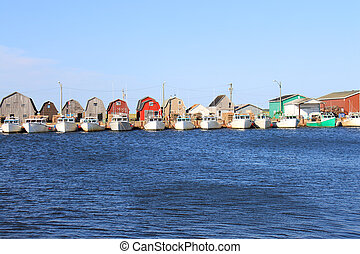 Fishing pier and boats in Prince Edward Island, Canada