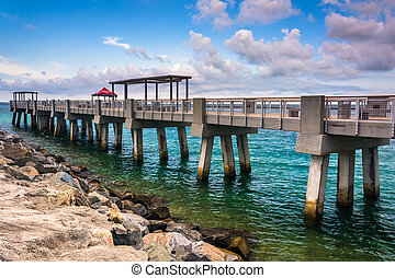 Fishing pier and jetty at South Pointe Park, Miami Beach, Florid