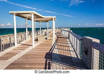 Fishing pier at South Pointe Park in Miami Beach, Florida.
