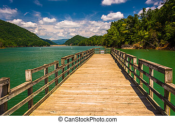Fishing pier at Watauga Lake, in Cherokee National Forest, Tenne