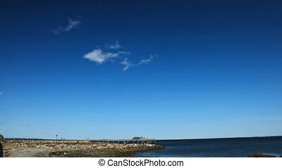 Fishing pier with blue sky