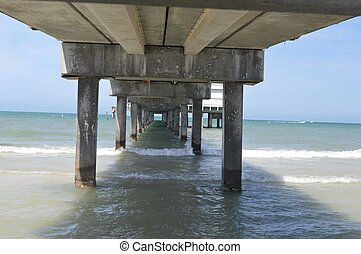 Fishing pier; from underneath - This is a photo of the...