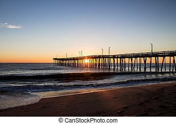 Fishing Pier in Silhouette - The Virginia Beach Fishing Pier...