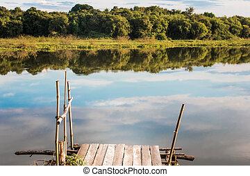 Fishing pier on the lake.