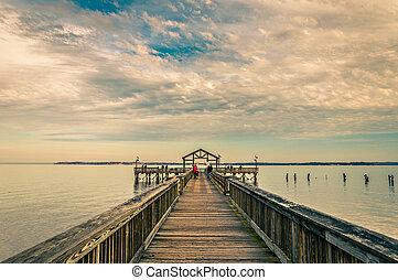 Fishing pier on the Potomac River in Leesylvania State Park, Virginia.