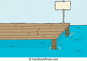 Fishing Pier with Sign - Single cartoon fishing pier with...