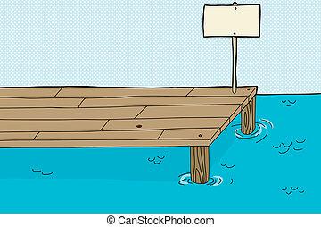 Single cartoon fishing pier with blank sign