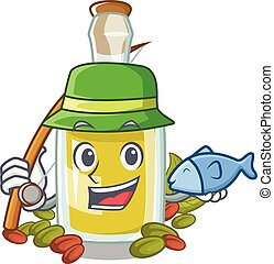 Fishing Pistachio oil in a character bottle
