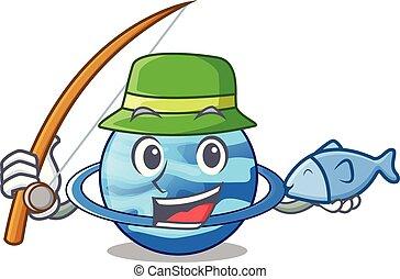 Fishing planet uranus in the cartoon form vector...