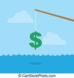 Fishing Pole Dollar Sign