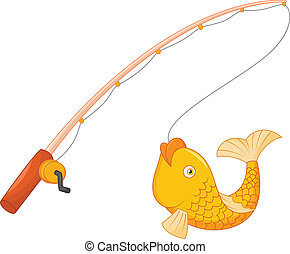 Fishing pole with hook and fish - vector illustration of...