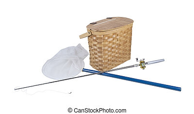 Fishing Pole with Net and Fish Basket - Fishing pole with...