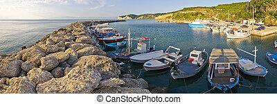 Fishing port in Agios Stefanos, Corfu, Greece - Fishing port...