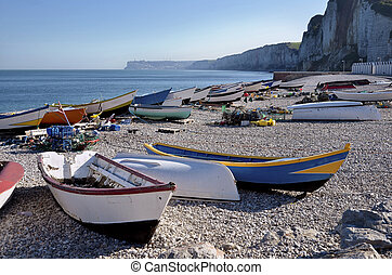 Fishing port of Yport in France - Boats in the small fishing...