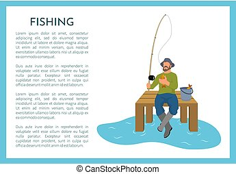 Fishing Poster with Fisherman Vector Illustration