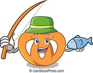 Fishing pretzel mascot cartoon style