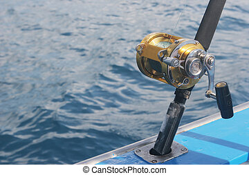 Close-up of fishing reel