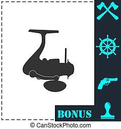 Fishing reel icon flat