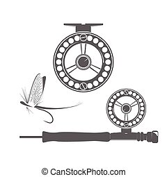 Fishing reel icons - Fishing reel and fly icon on the white...