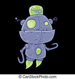 Fishing Robot - Silly vector robot drawn in a humorous...