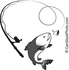 Fishing rod and fish on hook vector