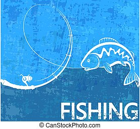 Fishing rod and fish poster