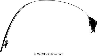 fishing rod and fish vector illustration