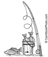 Fishing rod and fishes. Vector black drawing illustration on...