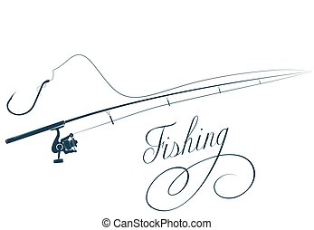 Fishing rod and fishing hook - Fishing rod and hook on the...