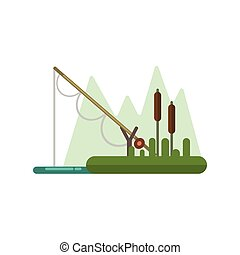 Fishing Rod Dipped In Water Illustration - Fishing Rod...