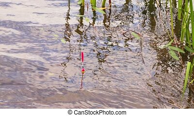 Fishing rod float in the water