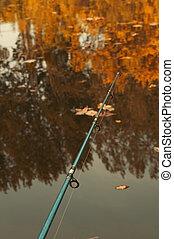 Fishing rod in lake