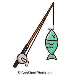 fishing rod isolated icon