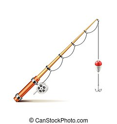 Fishing rod isolated on white vector