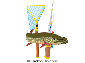 Fishing rod, net and pike - Abstract fishing rod and net...